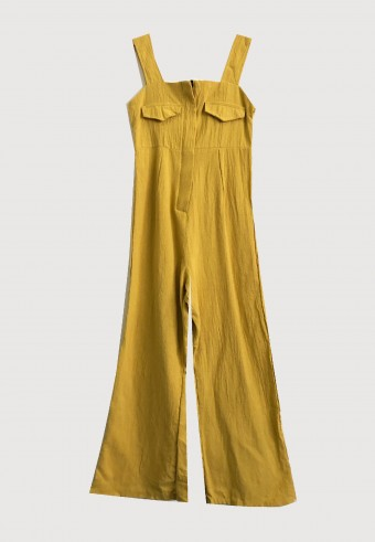 FRONT ZIPPED OVERALL IN MUSTARD