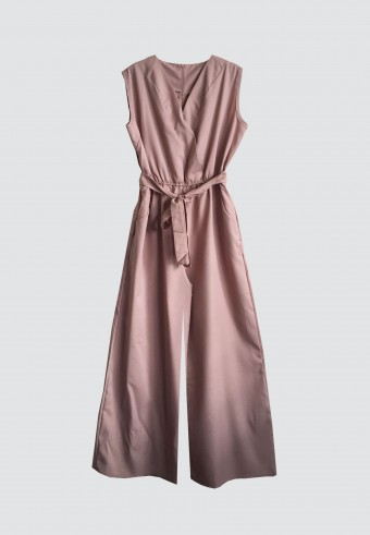 SLEEVELESS JUMPSUIT IN BROWN 14