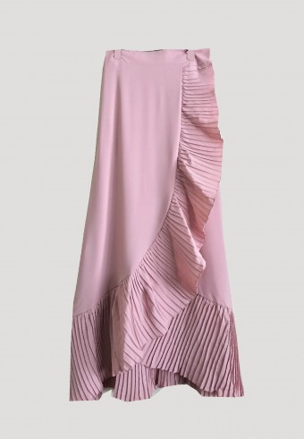 PLEATED CURVE SKIRT IN PINK 5