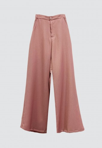 BOOTCUT COTTON PANT IN DUSTY PINK