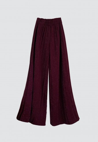 GLITTER PLEATED PANTS IN PLUMP