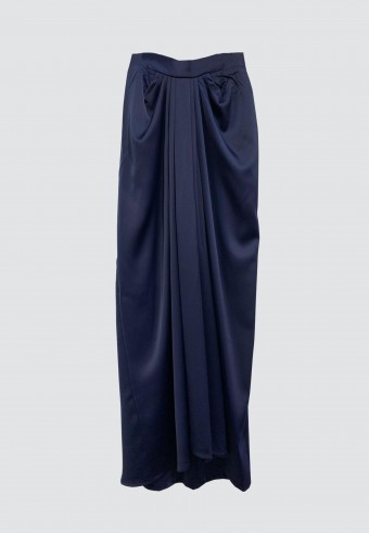 ALADDIN SATIN SKIRT IN NAVY BLUE