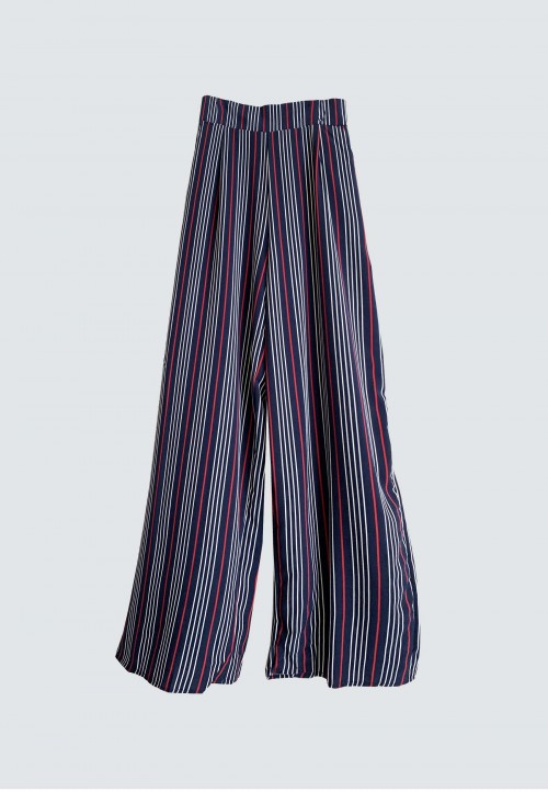 STRIPED WIDE PANT IN NAVY BLUE 159