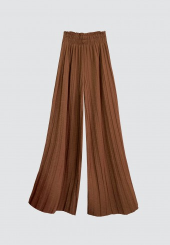 GLITTER PLEATED PANTS IN BROWN