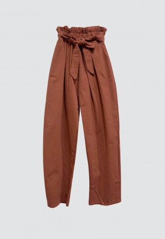 WAIST RUFFLE TAPPERED PANTS IN RED ORANGE