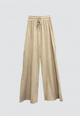 COTTON PALAZZO PANTS IN LIGHT BROWN