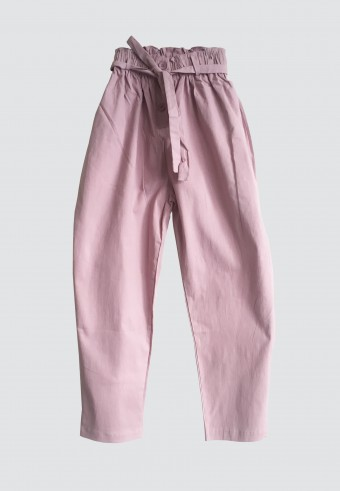 BUTTON WAIST RUFFLE TAPPERED PANTS IN PINK 5