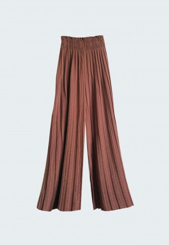 GLITTER PLEATED PANTS IN BROWN (ankle length)