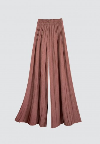 GLITTER PLEATED PANTS IN DUSTY PINK