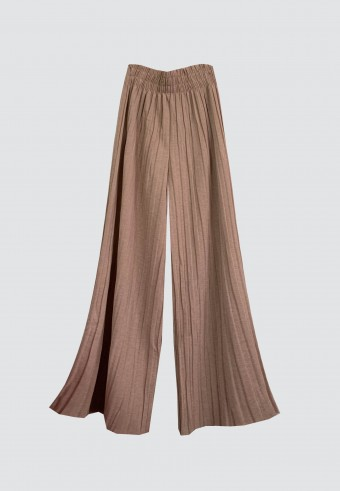 GLITTER PLEATED PANTS IN LIGHT BROWN