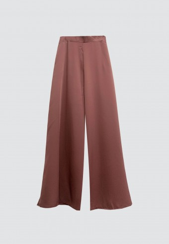 SILK PALAZZO PANT IN ROSE GOLD