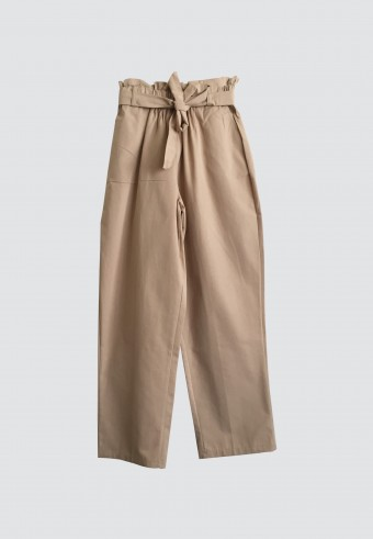 WAIST RUFFLE TAPPERED PANTS IN LIGHT BROWN