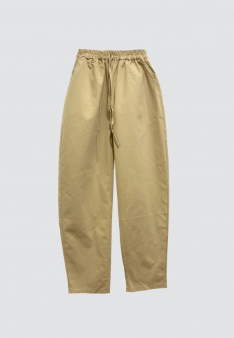 COTTON TAPERED PANTS WITH POCKET IN LIGHT BROWN