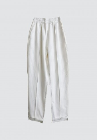 STRIPE TAPPERED PANT IN WHITE