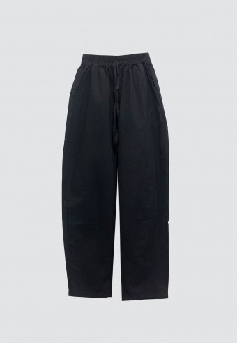 COTTON TAPERED PANTS WITH POCKET IN BLACK