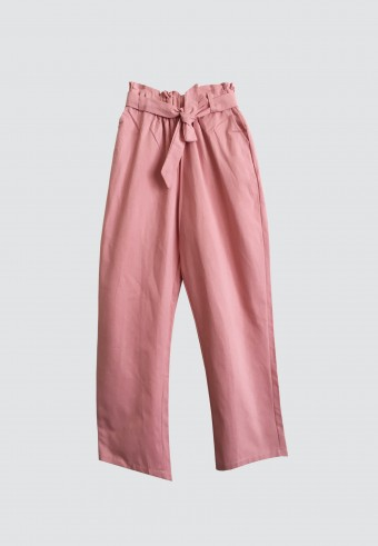 WAIST RUFFLE TAPPERED PANTS IN SALMON PINK
