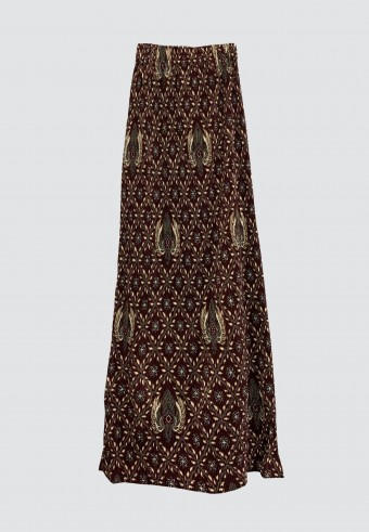 STRETCHABLE PRINTED SKIRT IN MAROON