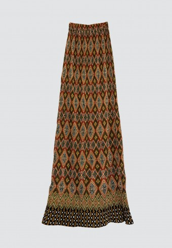 STRETCHABLE PRINTED SKIRT IN BROWN