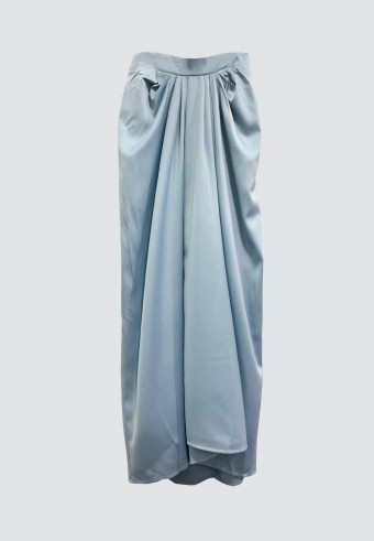 ALADDIN SATIN SKIRT IN BLUE