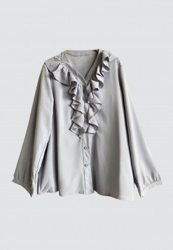 FRONT RUFFLE V NECK IN GREY