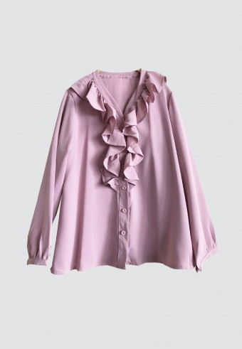 FRONT RUFFLE V NECK IN DUSTY PINK