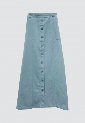 FRONT BUTTON POCKET SKIRT IN BABY BLUE
