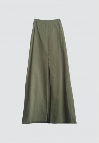 COTTON FRONT PLEATED SKIRT IN ARMY GREEN
