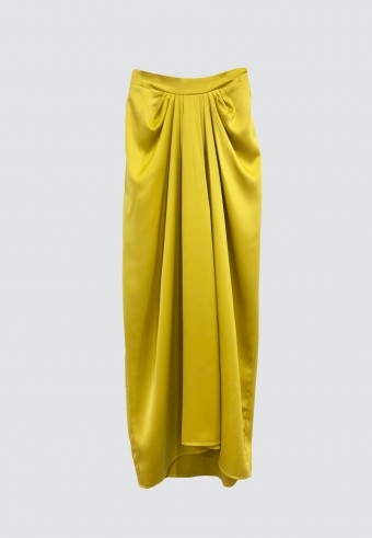 ALADDIN SATIN SKIRT IN MUSTARD