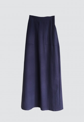 DOUBLE POCKET PENCIL SKIRT IN DARK BLUE