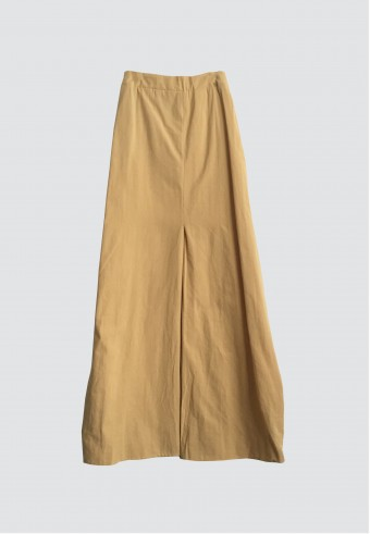 COTTON FRONT PLEATED SKIRT IN MUSTARD