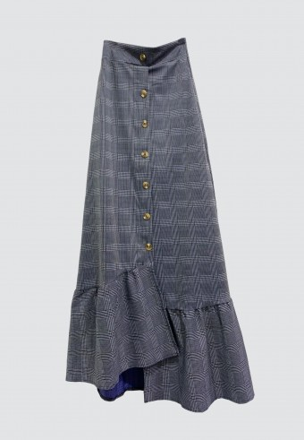 CHECKERED FRONT BUTTON SKIRT IN BLACK & BLUE