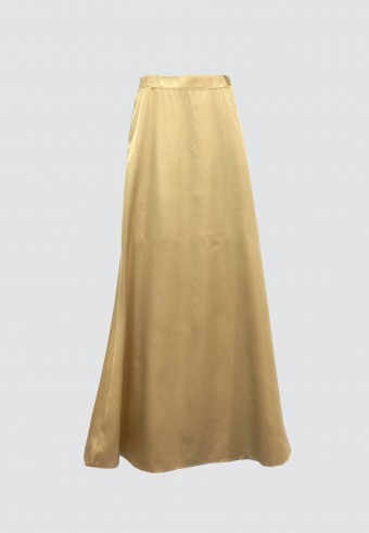 SATIN MERMAID SKIRT IN LIGHT BROWN