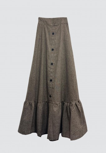 SIDE POCKET BUTTON GATHERED SKIRT IN BROWN
