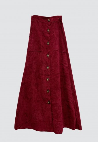 BUTTON CORDUROY SKIRT IN RED