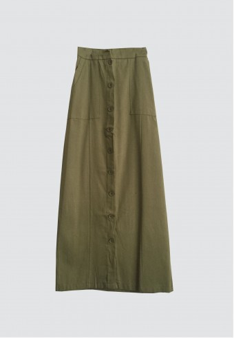 FRONT BUTTON POCKET SKIRT IN ARMY GREEN