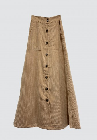 BUTTON CORDUROY SKIRT IN LIGHT BROWN