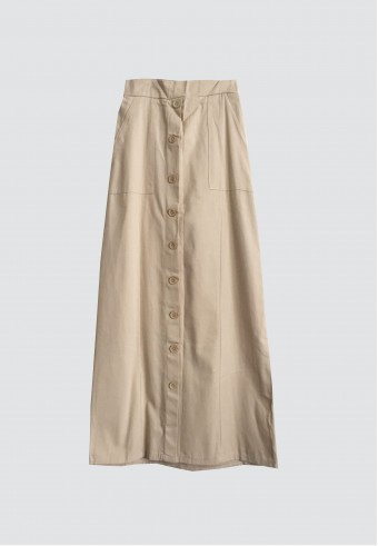 FRONT BUTTON POCKET SKIRT IN LIGHT BROWN