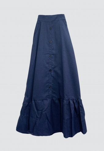 SIDE POCKET BUTTON GATHERED SKIRT IN NAVY BLUE