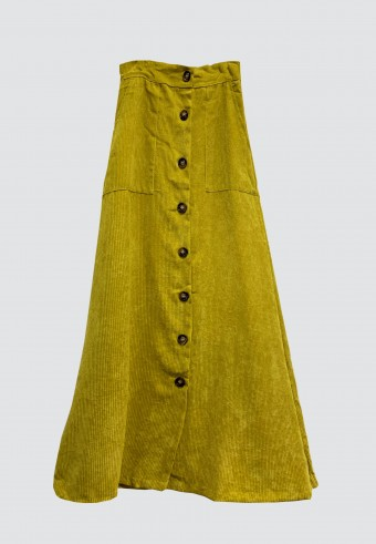 BUTTON CORDUROY SKIRT IN YELLOW