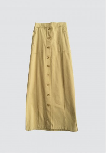 FRONT BUTTON POCKET SKIRT IN MUSTARD