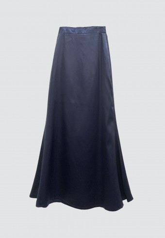 SATIN MERMAID SKIRT IN NAVY BLUE