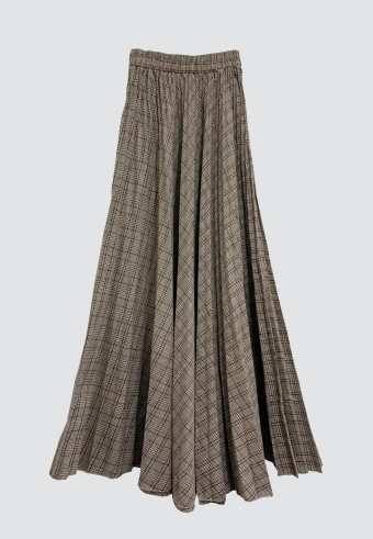CHECKERED PLEATED SKIRT IN BROWN