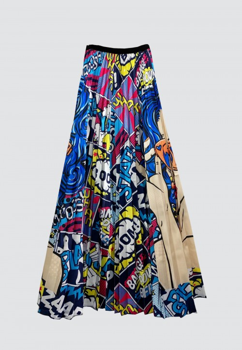 COMIC PLEATED SKIRT IN BLUE