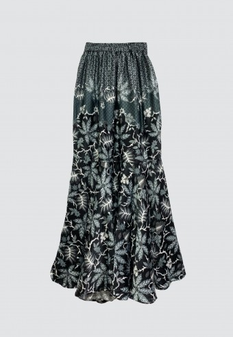 BATIK TRUMPET SKIRT IN BLACK & GREY