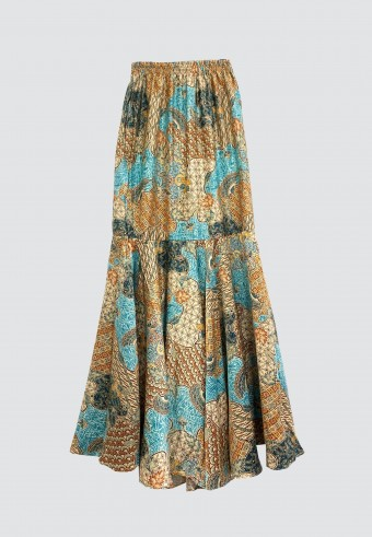 BATIK TRUMPET SKIRT IN BROWN