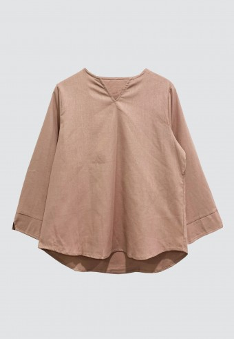 V-NECK LINEN TOP IN DUSTY PINK