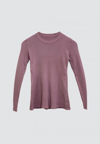 SLIM KNITTED TOP IN DUSTY PURPLE