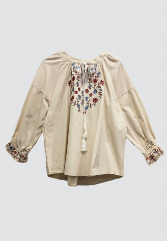 BOHO DROP SHOULDER TOP IN CREAM