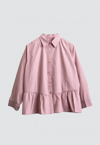 BUTTON HEMMED RUFFLE TOP IN DUSTY PINK
