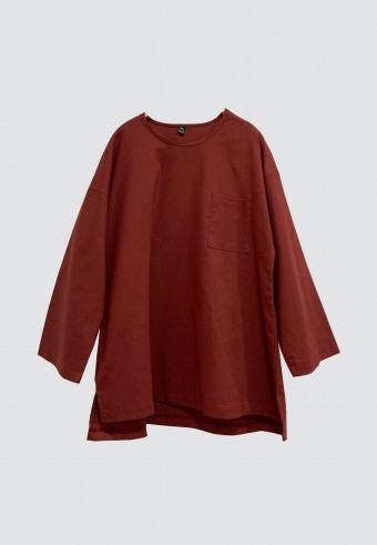 LINEN TOP IN MAROON